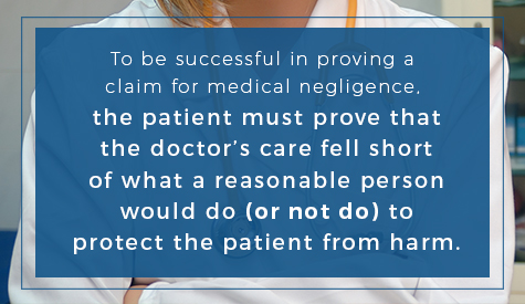 To be successful in proving a claim for medical negligence, the patient must prove that the doctor's care fell short of what a reasonable person would do (or not do) to protect the patient from harm.