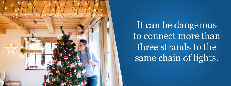 It can be dangerous to connect more than 3 strands to the same chain of lights.
