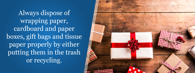 Dispose of wrapping paper in the trash or recycling.
