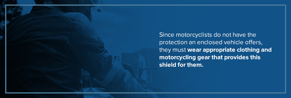 Motorcyclists must wear appropriate clothing and motorcycle gear.
