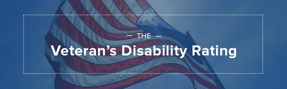 The Veteran's disability rating, image of the united states flag.