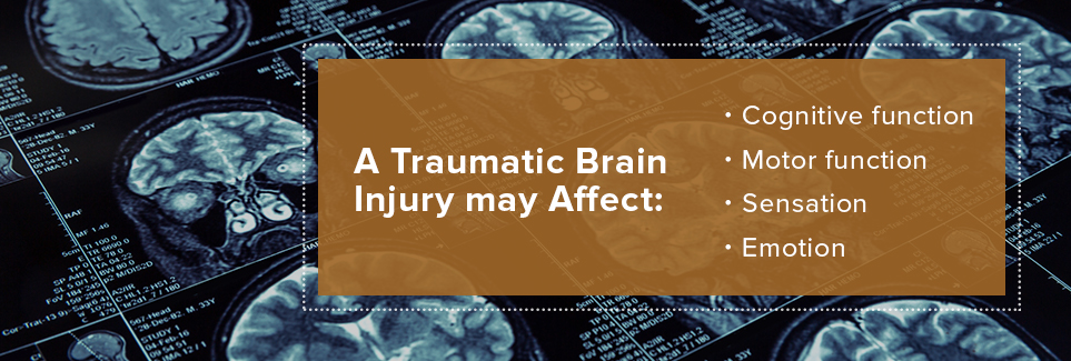 The affects of a traumatic brain injury.