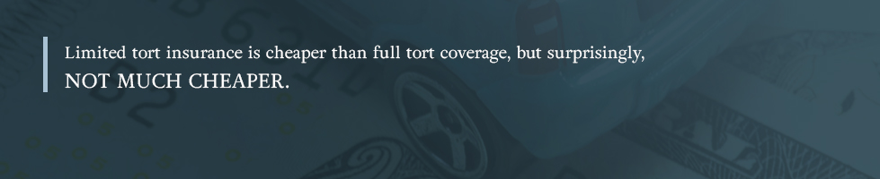 Limited tort insurance is cheaper than full tort coverage but not that much cheaper.