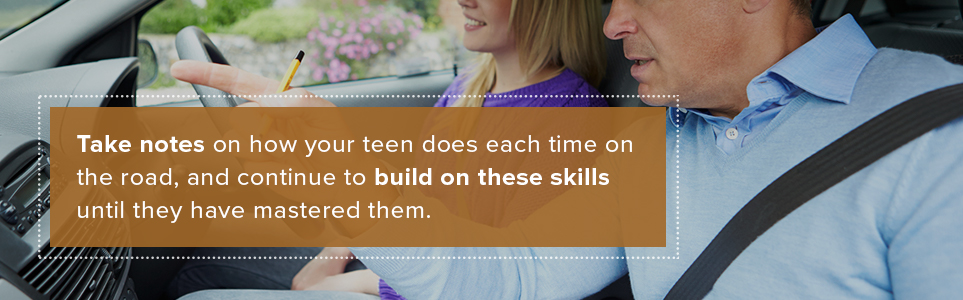 Take notes on how your teen does each time on the road and continue to build on these skills.