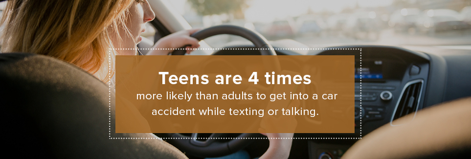 Teens are 4 times more likely than adults to get into a car accident while texting or talking.
