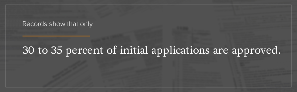 Only 30-35% of initial applications are approved.