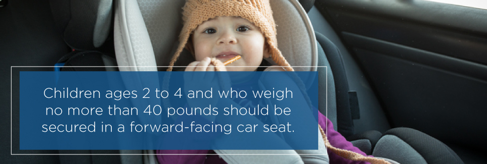 Children weighing less than 40lbs between 2-4 should be in forward-facing car seats.