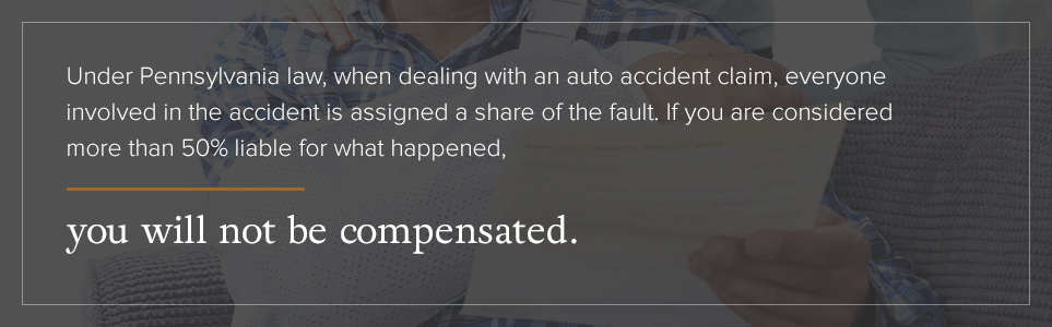 If you are considered more than 50% liable for the accident, you will not be compensated