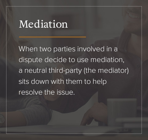 Mediation uses a neutral third-party to resolve the issue.