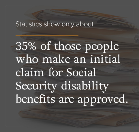 Only 35% of those that make a claim for SSD benefits are approved.
