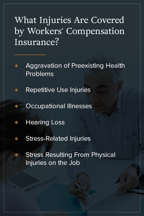 What injuries are covered by workers' compensation insurance?