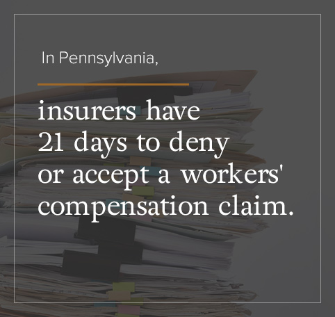 In PA, insures have 21 days to accept or deny a workers' comp claim.