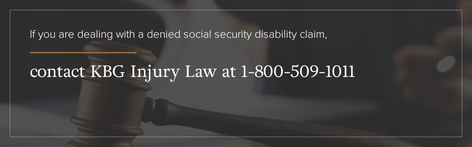 Contact KBG Injury Law for help with your denied SSD claim.