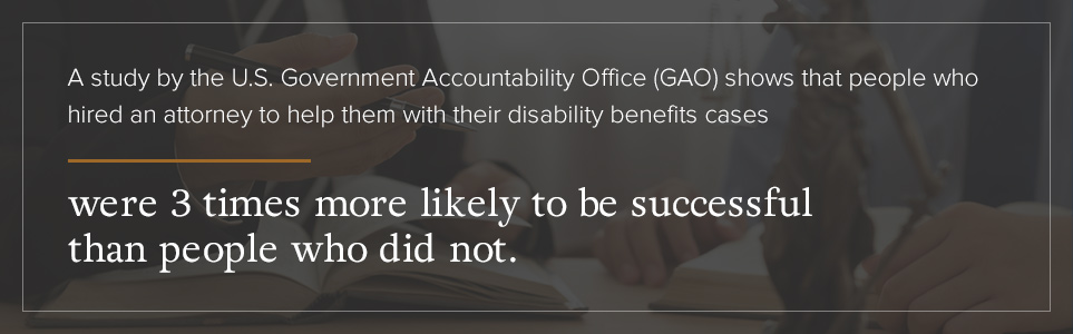 SSDI cases with lawyers were 3x's more likely to be successful.