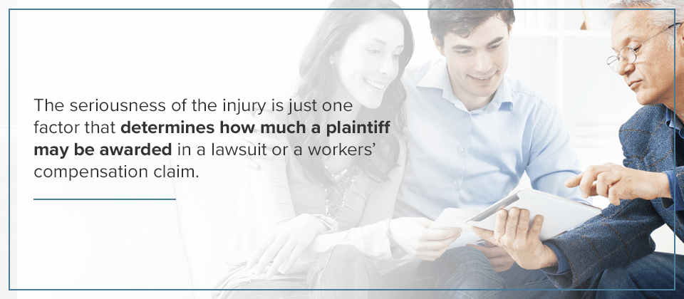 The seriousness of the injury is a factor that helps determine how much a plantiff may be awarded.