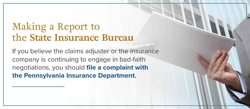 Make a report to the State Insurance Bureau