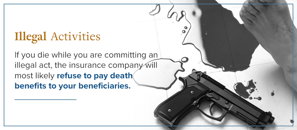 Insurance companies will most likely refuse to pay death benefits if you die while committing an illegal act.