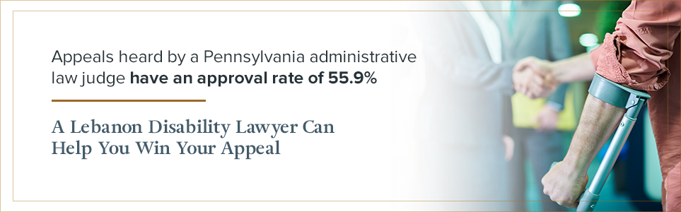 Appeals heard by a Pennsylvania administrative law judge have an approval rate of 55.9%