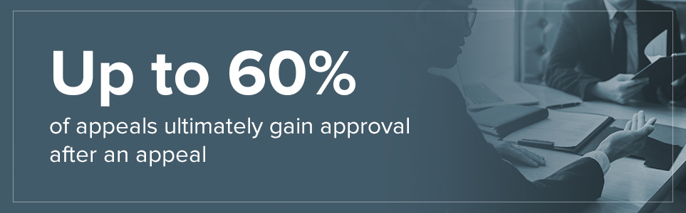 Up to 60% of appeals ultimately gain approval after an appeal