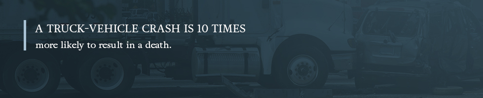 A truck-vehicle crash is also 10 times more likely to result in a death.