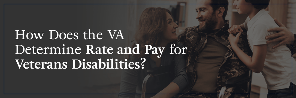 How does the VA determine rate and pay for veterans disabilities?