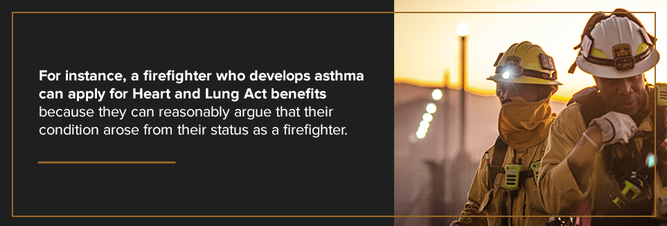A firefighter who develops asthma can apply.